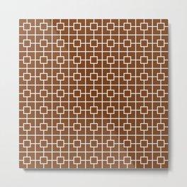 Chocolate Brown Square Chain Pattern Metal Print