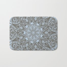 Light Blue Center Swirl Mandala Bath Mat