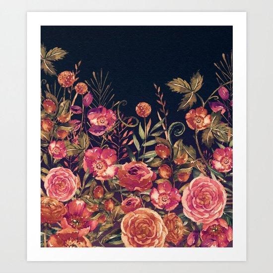 Vintage Garden 3 (Night Flowers) Art Print