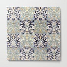 Morris Tulips Checkerboard Pattern III Metal Print