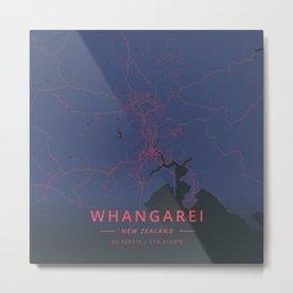 Whangarei, New Zealand - Neon Metal Print