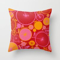 bikes Throw Pillows featuring Bikes by Helene Michau