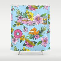 skateboard Shower Curtains featuring Scenic Springfield  by Josh Ln