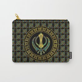 Gold and Marble Khanda symbol Carry-All Pouch