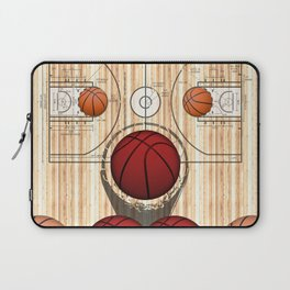 Colorful Red basketballs on a Basketball Court Laptop Sleeve