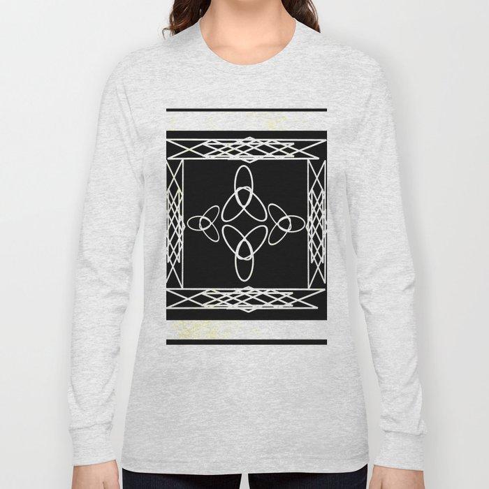 Celtic Deco Black and White Long Sleeve T-shirt