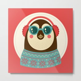 Holiday Hipster Pinguin Metal Print