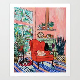 Red Armchair in Pink Interior with Houseplants, Ginger Cat, and Spaniel Interior Painting Art Print