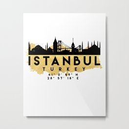 ISTANBUL TURKEY SILHOUETTE SKYLINE MAP ART Metal Print
