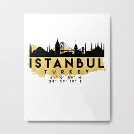 ISTANBUL TURKEY SILHOUETTE SKYLINE MAP ART Metal Print