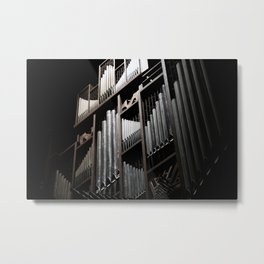 Gray and Brown Steel Organ Musical Instrument Abstract Print Metal Print