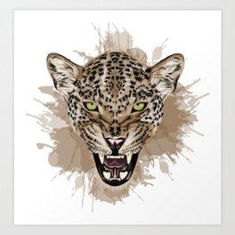 Leopard Stylized Digital Portrait Art Print