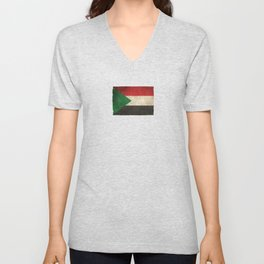 Old and Worn Distressed Vintage Flag of Sudan Unisex V-Neck