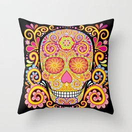 Day of the Dead Sugar Skull (Psychedelia) Throw Pillow