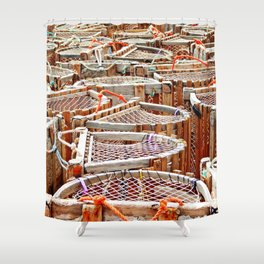 Traditional Lobster Traps Shower Curtain