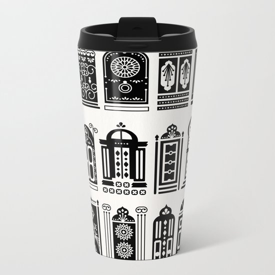 Moroccan Doors – Black Palette Metal Travel Mug