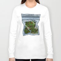 cannabis Long Sleeve T-shirts featuring illustrated gram of cannabis by HiddenStash Art