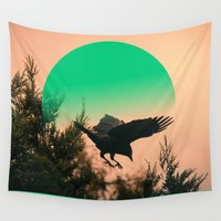 crow Wall Tapestries featuring CROW by My Dear Bambi