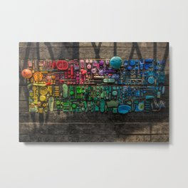 Rainbow Sculpture: Cambodian Beach Trash Metal Print