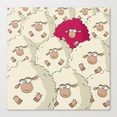 Sheep Pattern   Pink Canvas Print