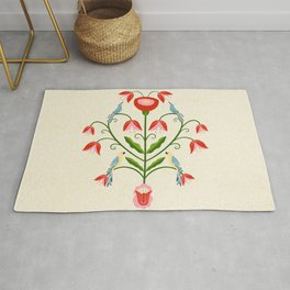 Hearty Bird's Songs - Folk Art Rug