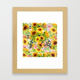 Summer Flowers and Berries Framed Art Print