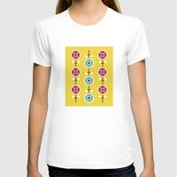scandinavian T-shirts featuring Scandinavian inspired flower pattern - yellow background by Hello Olive Designs