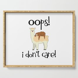 I Don't Care Sloth Llama Lover Sarcasm Sarcastic Misanthrope Serving Tray