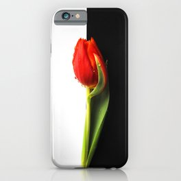 #Black and #White #Tulip with #waterdrop iPhone Case