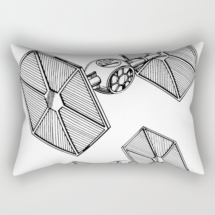 Starwars Tie Fighter Patent - Tie Fighter Art - Black And White Rectangular Pillow