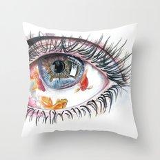 Koi Fish in Eye Throw Pillow