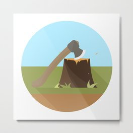 Wood Cutting Metal Print