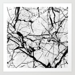 Dusty White Marble - Textured Black And White Art Print