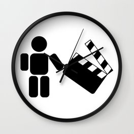Pictogram holding a movie clapperboard Wall Clock
