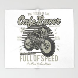 Caferacer Motorcycle Vintage Poster Throw Blanket