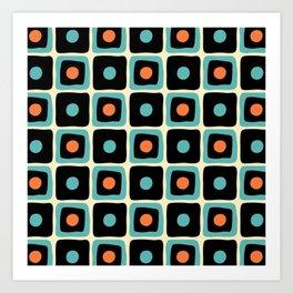 Mid Century Square Dot Pattern 4 Art Print