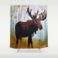moose Shower Curtains featuring Moose by Vicki Lynn Rae