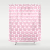 macaroon Shower Curtains featuring French Macaron Pattern - Cute Food Art - Pink Macaroon by French Macaron Art Print and Decor Store