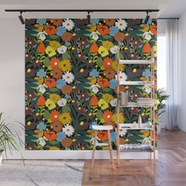 60's Swamp Floral in Midnight Black Wall Mural