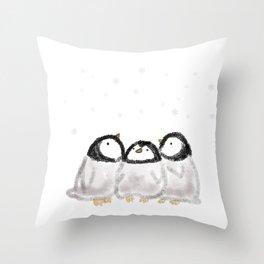 Penguin Chicks in Snow Throw Pillow