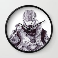 master chief Wall Clocks featuring Master Chief by DeMoose_Art