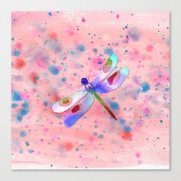 Pastel Watercolor Dragonfly Canvas Print