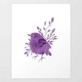 Purple Watercolor Bird Art Print
