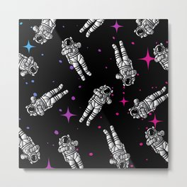 Astronauts in space pattern Metal Print