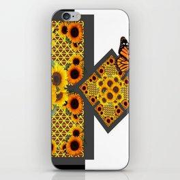 GOLD SUNFLOWERS & MONARCH BUTTERFLIES ART DECO iPhone Skin