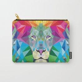 Geometric Rainbow Lion Carry-All Pouch