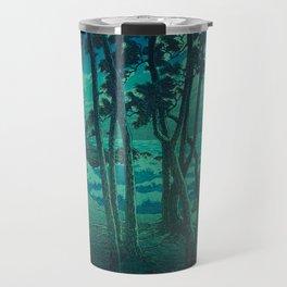Kawase Hasui Vintage Japanese Woodblock Print Cluster Of Pine Trees Near The Water's Edge At Night Travel Mug