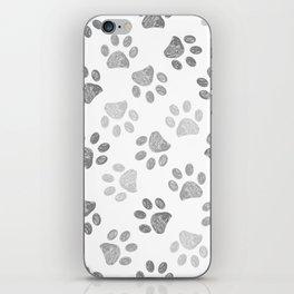 Black and grey paw print pattern iPhone Skin