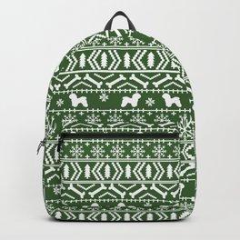 Bichon Frise christmas fair isle green dog silhouette minimal winter sweater holiday Backpack
