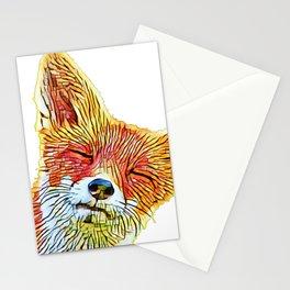 Fox Face Light Shapes Pieces Art Mammal Illustration Stationery Cards